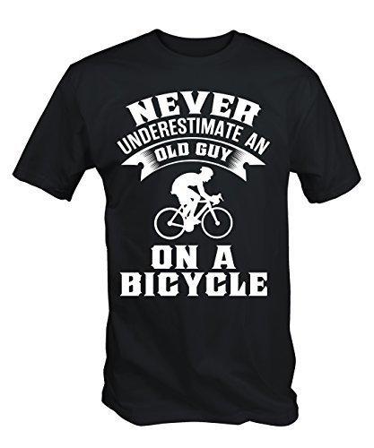 Niemals Underestimate An Old Kerl Auf Einem Fahrrad Lustig Radsport T-shirt - Schwarz, X-Large (Fahrrad Lustig)