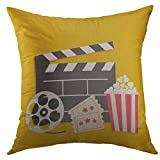 cf0d2a44b3d Pillow Case Big Movie Reel Open Clapper Board Popcorn Box Ticket Admit One  Three Star Cinema Yellow Flat Style Square Throw Pillow Cover for Men Women  Kids ...