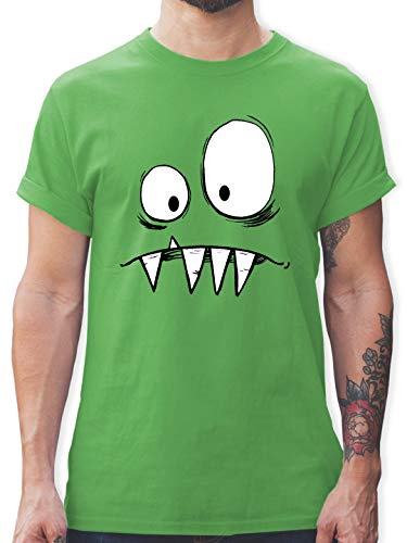 Karneval & Fasching - Monster Kostüm - L - Grün - L190 - Herren T-Shirt und Männer Tshirt (Lustige Gruppe Kostüm Ideen Für Männer)