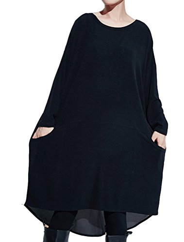 matchlife-femme-manches-longues-splice-chiffon-t-shirt-l-noir