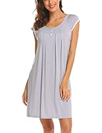 cdcaf58b46 Ekouaer Women s Nightgown Cotton Sleep Shirt Dress Contrast Color Short Sleeve  Sleepwear with Pockets (S