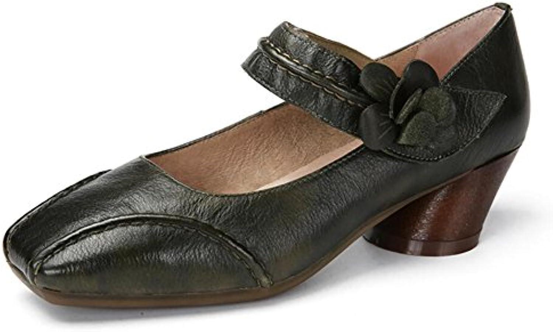XUE Zapatos de Mujer Zapatos de Velcro de Primavera/Verano de Cuero Zapatos de Conducción Sandalias de Estilo...