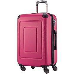 Happy Trolley - Hartschalen-Koffer Koffer Trolley Rollkoffer Reisekoffer Lugano, sehr leicht, TSA, 65 cm, 78L Pink