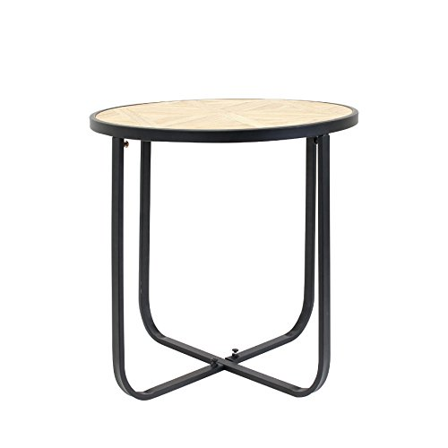 THE HOME DECO FACTORY HD3822 Table Ronde et Metal MDF + metal Bois 48.5x48.5x10 cm