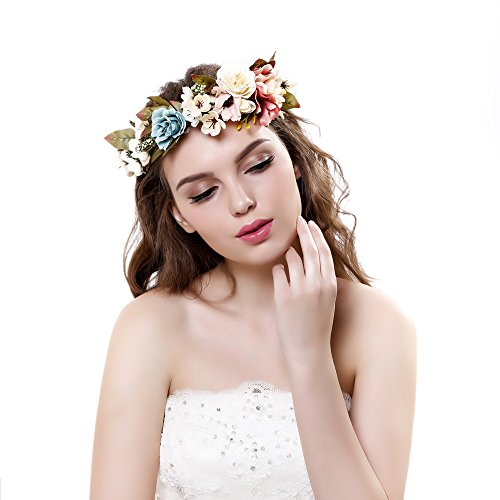 Ever Fairy Elegant Lace Flower Wreath Headband Garland Pregnant Flower Crown with Adjustable Ribbon for Wedding