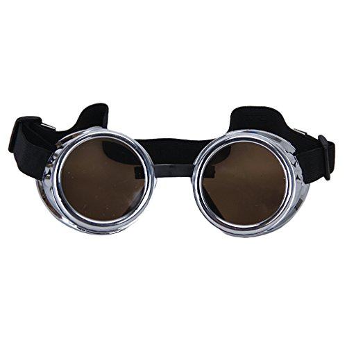 Weinlese Rustikal Cyber   Steampunk Schutzbrille Schweißen Goth cosplay Fotos (Silber)