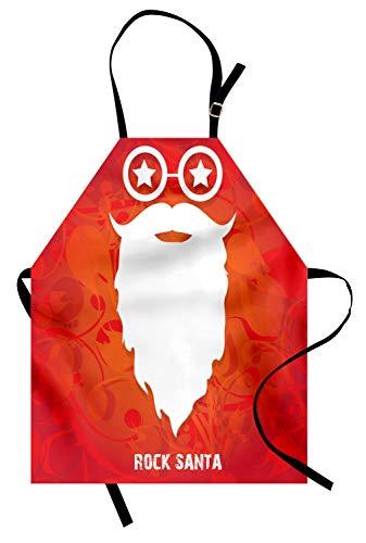 ABAKUHAUS Indie Kochschürze, Rock Santa Claus Christmas Theme Bart Silhouette und Runde Brille mit Sternen, Farbfest Höhenverstellbar Waschbar Klarer Digitaldruck, Orange Weiß Rot