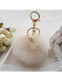 Kaninchenfell Ball PomPom Handy Auto Anhänger Handtasche Schlüssel Ring ZP