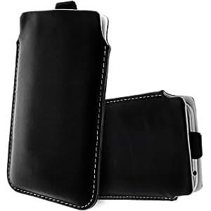 Avizar - Housse Etui Cuir avec Languette Pull Up pour Smartphones Taille 4XL (Galaxy Note 2, ...)- Noir