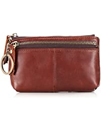 c42b4a30f465 Fmeida Coin Pouch Purse Zipper Credit Card Holder Leather Womens Slim Wallet  With Key Chain(