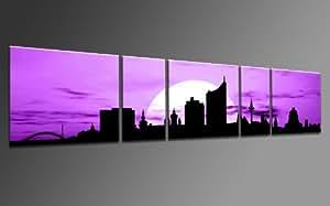 TOP Bild auf Leinwand CITY PANORAMA STIL LEIPZIG SUN LILA 5 TEILE DIGITAL Arts AP500170 Bilder fertig bespannt auf Keilrahmen. Kunstwerk als Wandbild auf Rahmen.Wohnzimmer, BÜRO GÜNSTIGER ALS Ölbild Gemälde Poster Plakat mit Bilderrahmen! MADE IN GERMANY