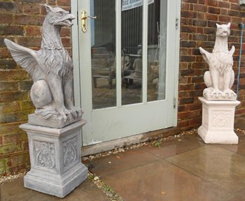 stone-winged-griffins-and-plinths-pair-garden-ornaments-ornate-animal-figurines