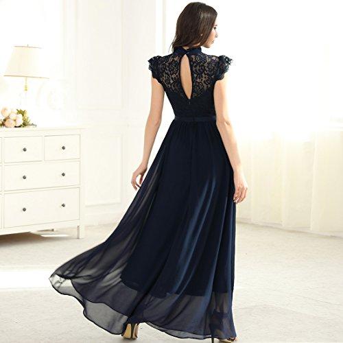 Miusol Spitzen Abendkleid Brautjungfer Cocktailkleid Chiffon Faltenrock Langes Kleid Dunkelblau Gr.L - 6