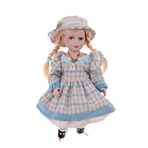 Fenteer 40cm Schöne Porzellan Mädchen Puppe Porzellanpuppe Mit Kleidung Dekofigur Sammlerstück - G (Viktorianische Puppe Kostüm)