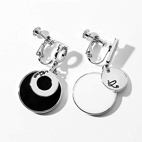 L&H 925 Silbernebel-Schwarz und Weiß Asymmetric Ohrringe Pendant Cold Air Ohr-Klips für Frauen,earclip