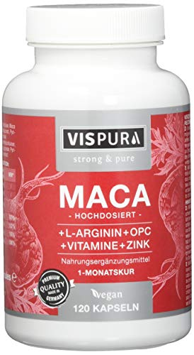 VISPURA® Maca Kapseln hochdosiert 5000mg + L-Arginin 1800mg + VITAL Formel B6, B12, OPC, Zink, 120 vegane Kapseln für je 1 Monat, deutsche Premium-Qualität