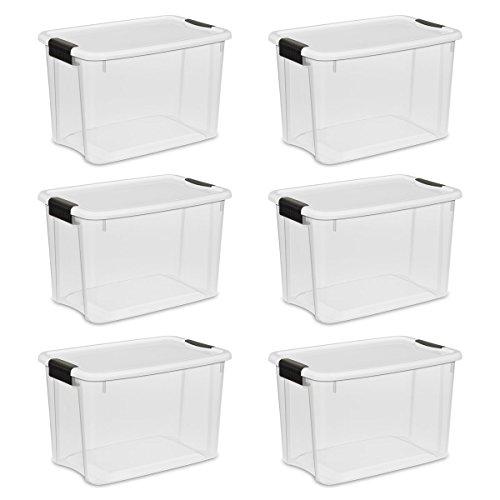 Sterilite Ultra Aufbewahrungsbox, weiß Deckel durchsichtselement Boden mit Titan Laschen, 6er Pack, farblos, 30-Quart (Sterilite Aufbewahrungsbox)