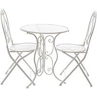 Set tavolo e 2 sedie da giardino, in ferro