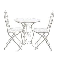 Idea Regalo - Set tavolo e 2 sedie da giardino, in ferro