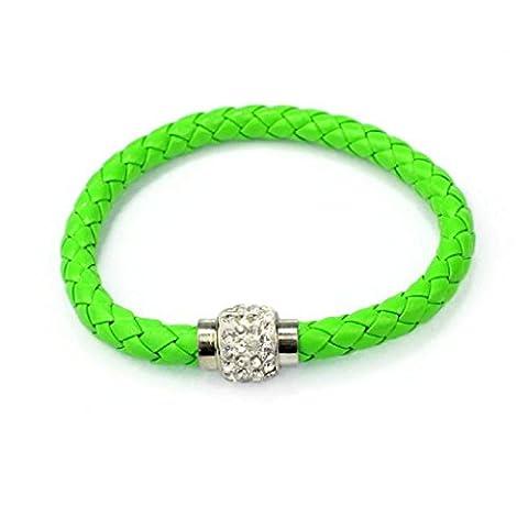 WINWINTOM Wristband Magnetrhinestone Wölbungs Leder Verpackungs Armband Armband (Grün)