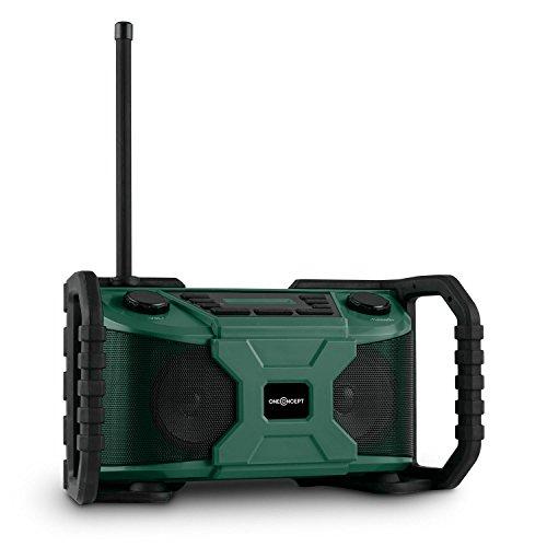 Preisvergleich Produktbild oneConcept Worksite Outdoor Baustellenradio Bluetooth Lautsprecher (spritzwassergeschützt, DAB+, UKW, MP3-fähiger USB Port, Weckfunktion, Batterie- oder Netzbetrieb) grün