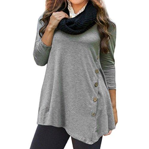Damen Langarm , Frashing Frauen Langarm Lose Knopfleiste Bluse einfarbig Rundhals Tunika T-Shirt S~6XL (Grau, 6XL)