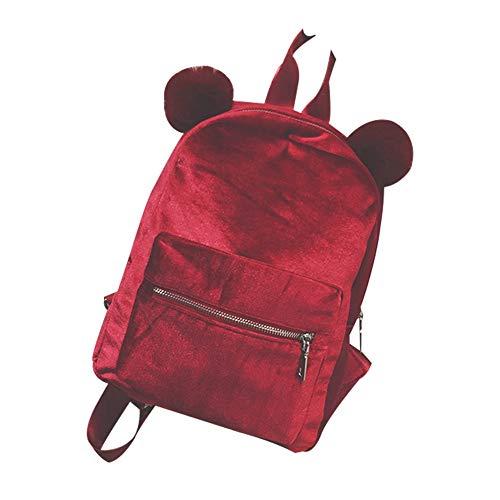 jEZmiSy Schöne Doppel Pompom Solid Color Pleuche Frauen Rucksack Reise Umhängetasche Red (Boy Tommy Hilfiger Set)