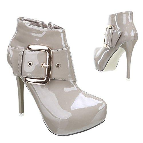 Damen Schuhe, 15-230, STIEFELETTEN Beige Grau