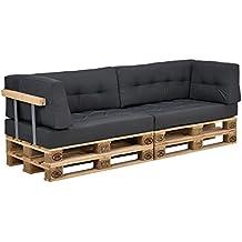 [en.casa] Set de cojines para sofá de palés - 2 cojines de asiento + 2 cojines de respaldo + 2 cojines de esquina [gris oscuro] para interior/ exterior