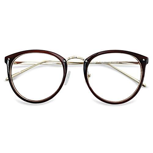 KOOSUFA Retro Nerdbrille Damen Herren Brillengestelle Brille Ohne Sehstärke Rund Klassische Pantobrille Brillenfassung Fake Brille Vintage mit Brillenetui (Braun)