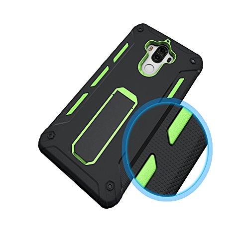 YHUISEN Huawei Mate 9 Case, Cool Shockproof Rüstung Hybrid 2 In1 TPU und PC Robuste Dual Layer mit Kickstand Case für Huawei Mate 9 ( Color : Black ) Green