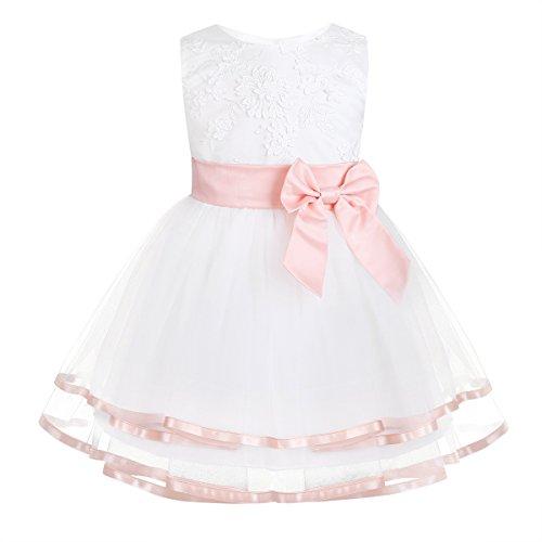 iixpin Babybekleidung Baby-Mädchen Prinzessin Kleid Festzug Taufkleid Hochzeit Partykleid Mädchen Tüll Kleidung Blumenmädchenkleid mit Baumwollhose Perle Rosa 74-80