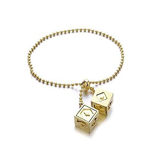 Han Solo Dice Lucky Charms doré pendentif Cosplay Costumes Prop, le dernier dé Jedi avec Star Wars, lien Keychain Bracelet Collier pour choisir (bracelet)