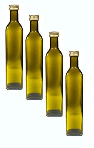 Glasflaschen Set mit Schraubverschluss Gold | 4 teilig | Füllmenge 500 ml | Antik Grün | Maras...