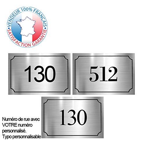 Plaque de numéro de rue PVC | numéro de maison | Plaque gravée à personnaliser 15 x 10 cm | 17 couleurs disponibles (Gris alu brillant)