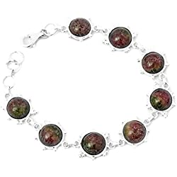 Exotic India Gemstone Bracelet with Granulation - Sterling Silver - Color Ruby Zoisite