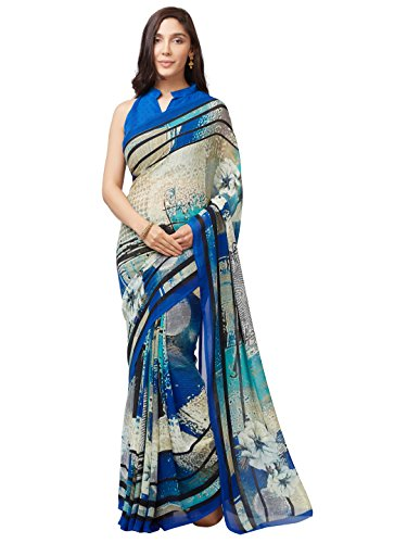 SOURBH Women's Faux Georgette Printed Saree (7640_Blue_FreeSize)