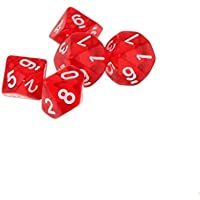 5pcs Juguetes Educativos Matemáticas Dados 10 Lados D & D Trpg Warhammer - Rojo