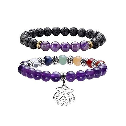 QGEM 2pcs 7 Chakra Healing Balancing Round Stone Beads Stretch Bracelet Lotus Pendant Bangle Yoga Meditation Set, with Gift Box-Natural Amethyst and Lava