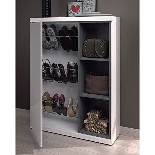 Habitdesign 0G6749BO - Recibidor zapatero + espejo, acabado Blanco Brillo y Gris Ceniza, medidas 79x108x25cm...