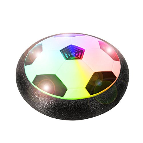Create+ Air Powered Hover Soccer Ball Pneumatic Suspended Disc with Foam Bumpers and Colourful LEDs for Indoor and Outdoor Games (White)