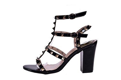 ALUK- Printemps et été - Chaussures sexy à talons hauts en Europe et en Amérique Rivet épais avec des sandales ( Couleur : Noir , taille : 36 ) Noir