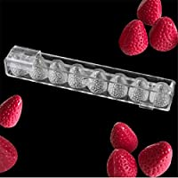 VAK Strawberry Shape Kitchen Bakeware Baking Pan Chocolate Moulds,3D Polycarbonate Baking Tray, Plastic Baking Dish Baking Pastry Tools for Candy Dessert Pastry Jelly Cookie Ice Cake - 14.5x28x2.5cm
