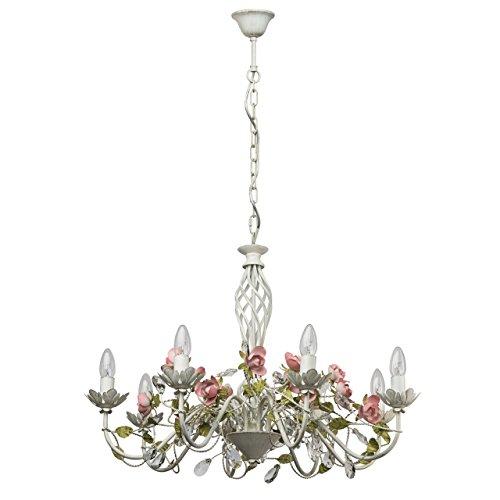 Lampadario da soffitto pendente elegante fiore con gocce cristalli metallo