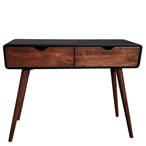 Wholesaler GmbH Schwarzer Konsolentisch aus Holz mit Zwei Schubladen im Kolonialstil 100 x 30 x 80 cm - Kommode Anrichte Sideboard Wandtisch Retro neu