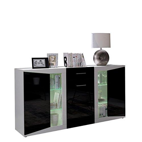 Mirjan24  Kommode Migo mit Glasboden, Sideboard, Highboard, Anrichte, Mehrzweckschrank, Wohnzimmerschrank, Schrank (Weiß/Schwarz Hochglanz + Weiß Hochglanz, mit weißer LED Beleuchtung)