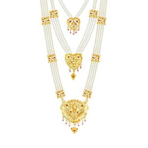 Goldnera Traditional 3 Line Gold Plated Long Brass Haram Necklace With Peacock Pendant Hyderabad Pearl Set For Women & Girls