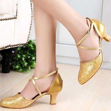Chaussures De Danse - Non Personnalisable - Femme - Moderne - Talon Épais - Synthétique - Noir / Rouge / Argent / Or Argent