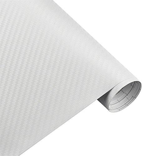 ECYC 200 Cm X 30 Cm 3D Adesivi in   Vinile Pellicola in Fibra di Carbonio, Impermeabile Auto Moto Fai da Te Auto Car Wrapping Avvolgimento (Bianco)