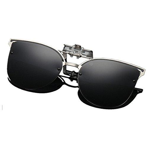 Aiweijia Polarisierte Clip-on Flip-up Cat Eye Sonnenbrille Metallrahmen Sonnenbrille